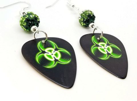 Green and Black Toxic Guitar Pick Earrings with Green Ombre Pave Beads