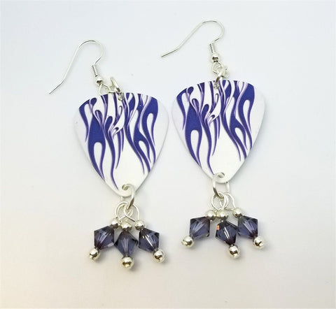 Purple Hot Rod Flame Guitar Pick Earrings with Swarovski Crystal Dangles