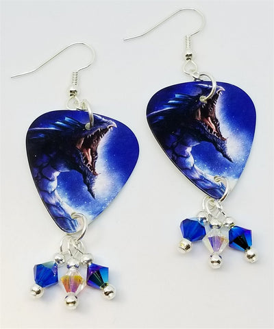 Blue Dragon Guitar Pick Earrings with Swarovski Crystal Dangles
