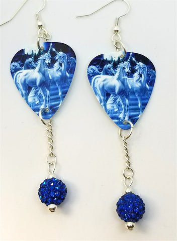 Unicorns in Blue Light Guitar Pick Earrings with Capri Blue Pave Bead Dangles