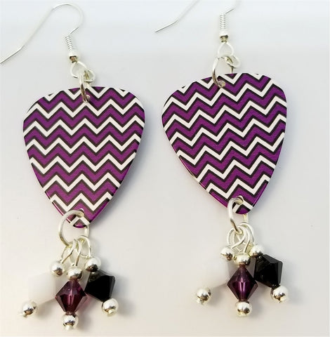 Purple, White and Black Chevron Guitar Pick Earrings with Swarovski Crystal Dangles