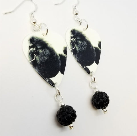Black Fluffy Poodle Guitar Pick Earrings with Black Pave Bead Dangles