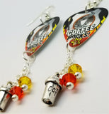 Coffee Rocks Guitar Pick Earrings with Coffee Cup Charm and Swarovski Crystal Dangles