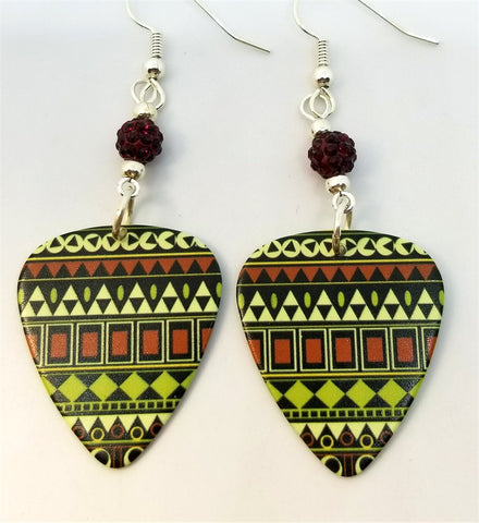 Green, Red and Off White Tribal Print Guitar Pick Earrings with Red Pave Beads