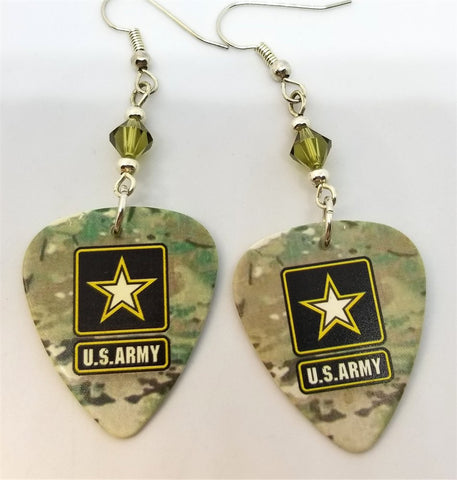 Army Camo Guitar Pick Earrings with Khaki Green Swarovski Crystals