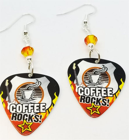 Coffee Rocks Guitar Pick Earrings with Fire Opal Swarovski Crystals