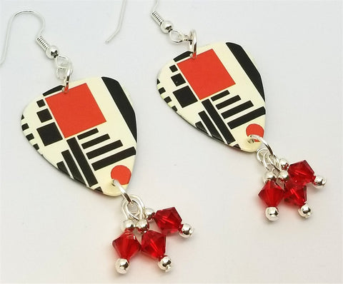 Red and Black Geometric Shapes Guitar Pick with Red Swarovski Crystal Dangles