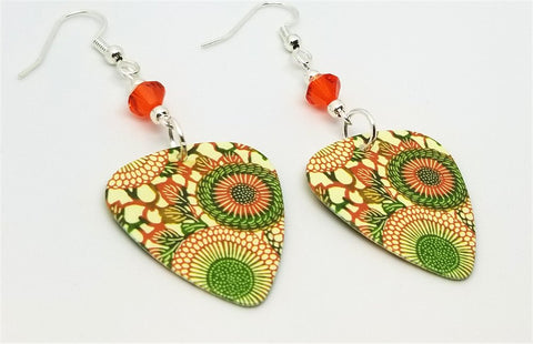 Orange and Green Round Flowered Guitar Pick Earrings with Orange Swarovski Crystals