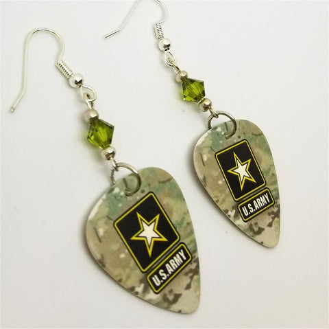 Army Camo Guitar Pick Earrings with Green Swarovski Crystals