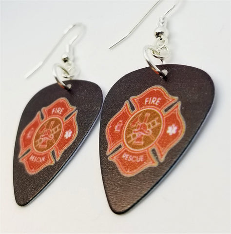 Fire Department Shield Charm Guitar Pick Earrings