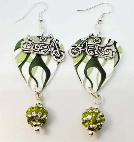 Green Hot Rod Flames Guitar Pick Earrings with Motorcycle Charm Overlay and Pave Bead Dangles