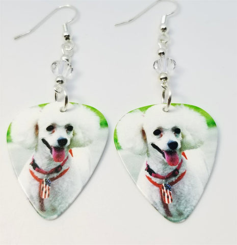 White Poodle Guitar Pick Earrings with Clear Swarovski Crystals