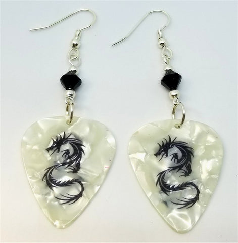 Tribal Dragon White MOP Guitar Pick Earrings with Black Swarovski Crystals