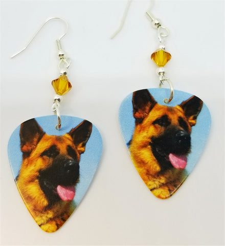 German Shepherd Guitar Pick Earrings with Amber Swarovski Crystals