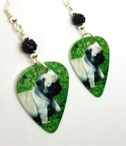 Pug Puppy Guitar Pick Earrings with Black Pave Beads