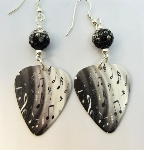 Black and White Music Notes Guitar Pick Earrings with Black Ombre Pave Beads