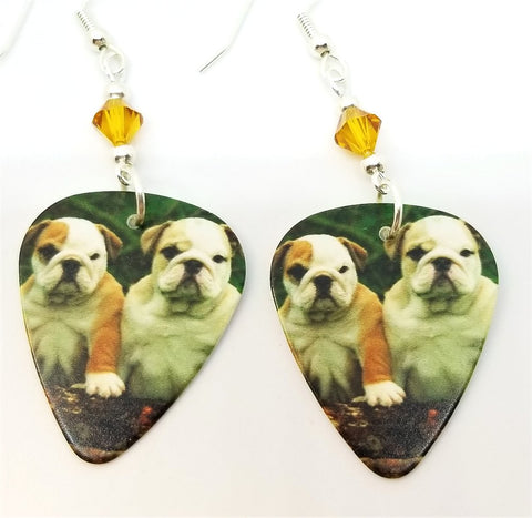 Bulldog Puppies Guitar Pick Earrings with Amber Swarovski Crystals