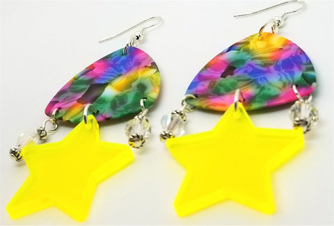 MultiColor Large Guitar Pick Earrings with Neon Star and Swarovski Crystal Dangles