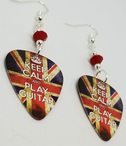 Keep Calm and Play Guitar British Flag Guitar Pick Earrings with Red Swarovski Crystals
