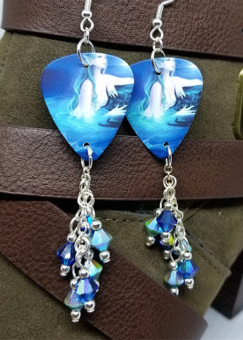 Mermaid Half Out of Water Guitar Pick Earrings with Cascading Swarovski Crystal Dangles