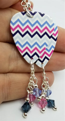Colorful Chevron Guitar Pick Earrings with Swarovski Crystal Dangles