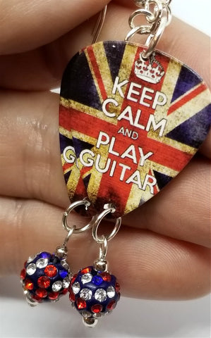 Keep Calm and Play Guitar British Flag Guitar Pick Earrings with British Flag Pave Bead Dangles