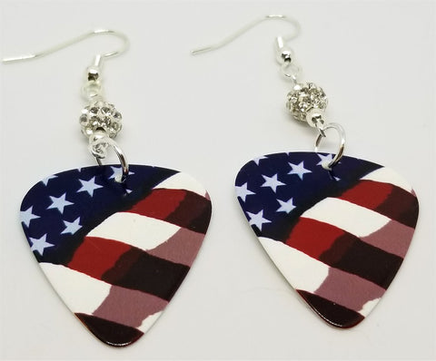 American Flag Guitar Pick Earrings with White Pave Beads