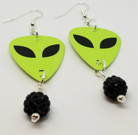 Alien Green Face Guitar Pick Earrings with Black Pave Bead Dangles