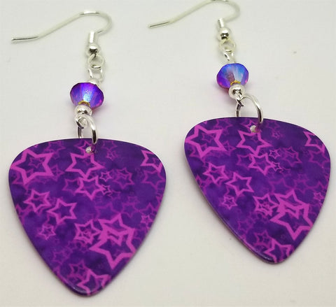 Fuchsia Stars Guitar Pick Earrings with Fuchsia AB Swarovski Crystals