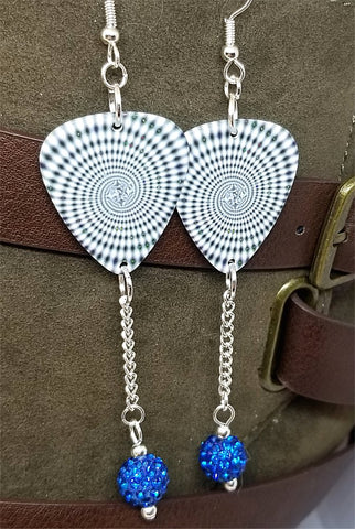 Black and White Spiral Guitar Pick Earrings with Capri Blue Pave Bead Dangles