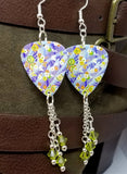 Flowered Origami Paper Style Guitar Pick Earrings with Lime Green Swarovski Crystal Dangles