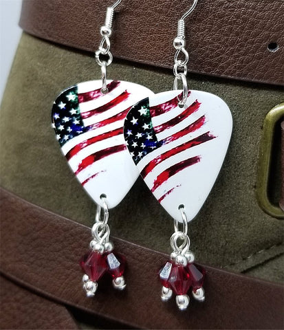 American Flag Guitar Pick Earrings with Red Swarovski Crystal Dangles