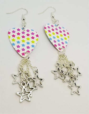 MultiColor Stars Guitar Pick Earrings with Star Charm Dangles