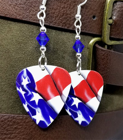 American Flag Guitar Pick Earrings with Blue Swarovski Crystals