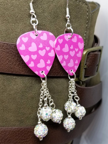 Pink Hearts Guitar Pick Earrings with White AB Pave Bead Dangles