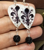 Fleur de Lis on White MOP Guitar Pick Earrings with Black Pave Bead Dangles