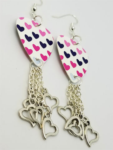 MultiColor Hearts Guitar Pick Earrings with Heart Charm Dangles