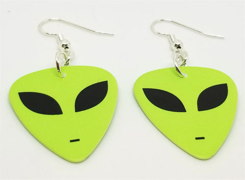 Alien Green Face Guitar Pick Earrings