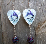 Skull with Purple Flame Hair Guitar Pick Earrings with Purple AB Studded Rhinestone Bead Dangles