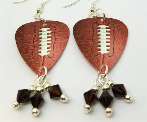 Football Guitar Pick Earrings with Brown Swarovski Crystal Dangles