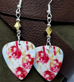 Christmas Bulbs and Snowflakes Guitar Pick with Gold Swarovski Crystals