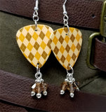 Autumnal Brown and Orange Argyle Guitar Pick with Smoked Topaz Swarovski Crystal Dangles