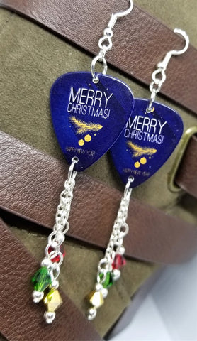 Merry Christmas and Happy New Year Guitar Pick with Red, Green and Gold Swarovski Crystal Dangles