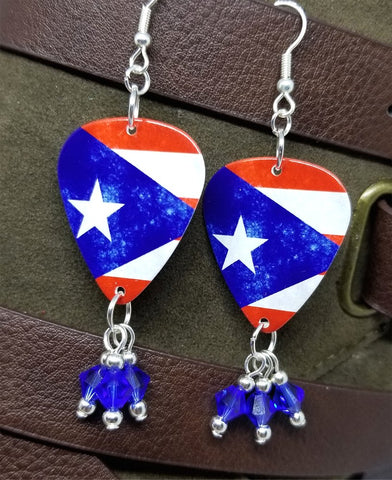 Puerto Rican Flag Guitar Pick Earrings with Blue Swarovski Crystal Dangles