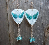 Turquoise Wings Guitar Pick Earrings with Turquoise Swarovski Crystal Dangles