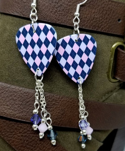 Pink, Purple, and Blue Argyle Guitar Pick with Swarovski Crystal Dangles