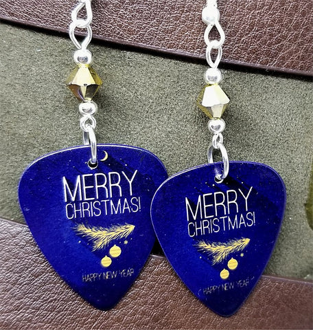 Merry Christmas and Happy New Year Guitar Pick with Gold Swarovski Crystals