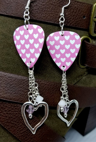 White Hearts on Pink Guitar Pick Earrings with Heart Charm and Swarovski Crystal Dangles