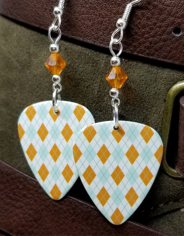Light Blue and Orange Argyle Guitar Pick with Orange Swarovski Crystals