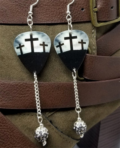 Three Crosses Guitar Pick Earrings with Black Ombre Pave Bead Dangles